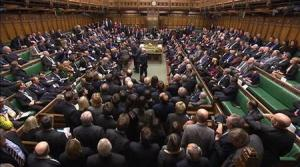 A video grab image shows MPs voting on gay marriage legislation, in the House of Commons, London